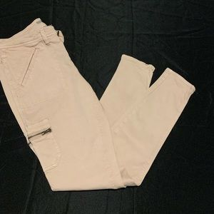 Dusty pink jeans with cargo pockets